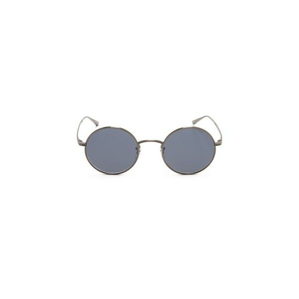 Oliver Peoples The Row After Midnight Flat Lens Sunglasses (3140 MAD) ❤ liked on Polyvore featuring accessories, eyewear, sunglasses, oliver peoples eyewear, round frame glasses, titanium frame glasses, oliver peoples glasses and etched glasses