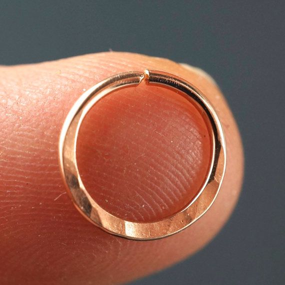 18 gauge Septum Ring   14 kt Rose Gold by CecileStewartJewelry
