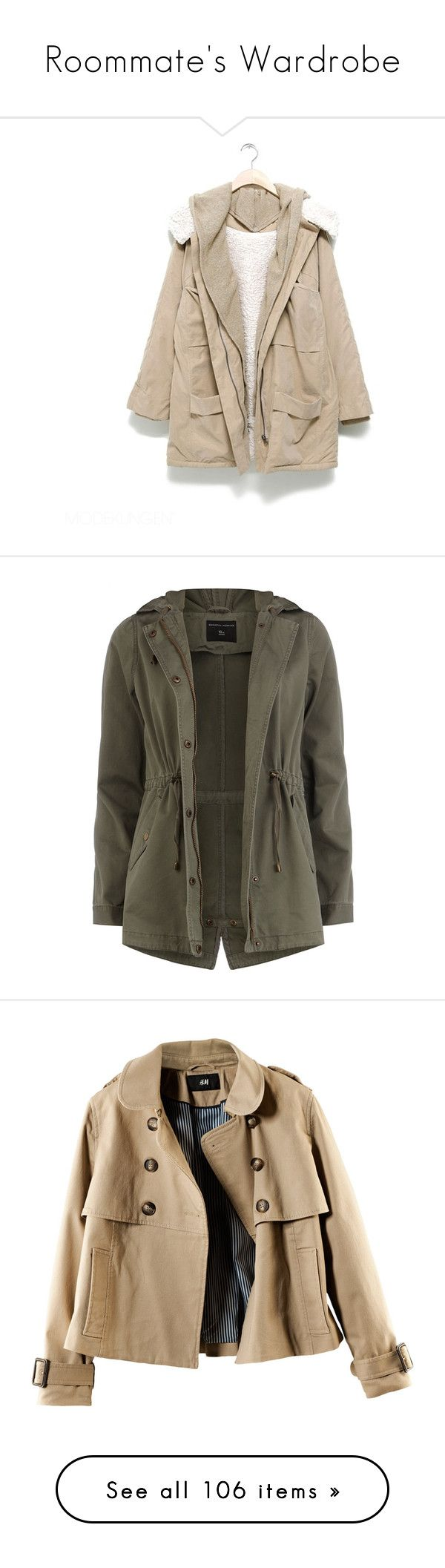 """Roommate's Wardrobe"" by phoebe-5sos ❤ liked on Polyvore featuring outerwear, jackets, coats, tops, women, cotton jacket, pink jacket, khaki, khaki parka and khaki jacket"