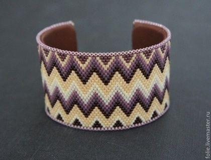 """Купить Парные браслеты """"A la Missoni"""" - бордовый, бежевый, браслет из бисера, мозаичное плетение"""