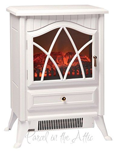 NEW Wood Burner Log Effect Electric Fire Free Standing Portable Stove in White Cream