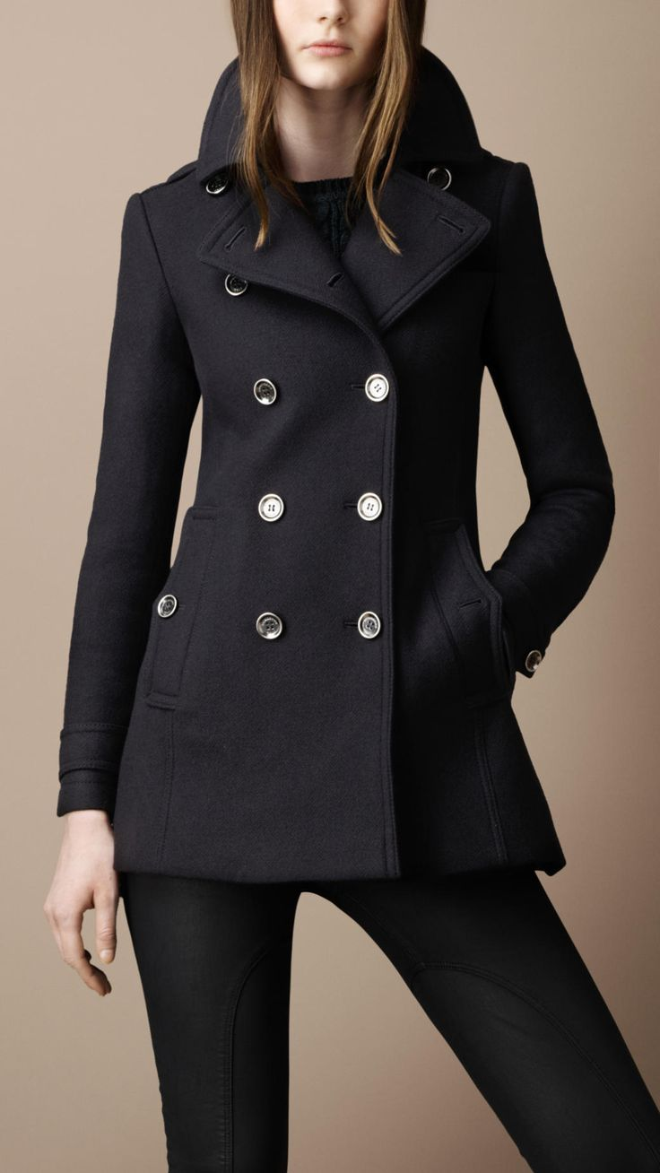Burberry Twill Coat with Back Pleats