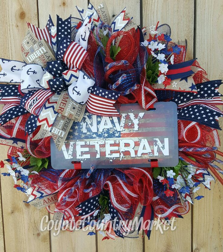 United State Navy Veteran Deco Mesh Wreath-Navy Veteran Door Wreath-Military Wreath-Veteran's Wreath-US Navy Wreath-Navy Decor-US Navy by CoyoteCountryMarket on Etsy