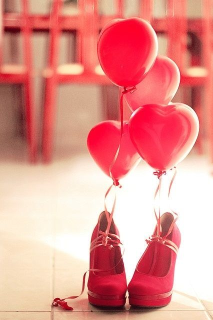 sweet: Fashion Shoes, Birthday Balloon, Gifts Ideas, Wedding Shoes, Red Shoes, Red Heels, Valentines Gifts, Pink Shoes, Valentines Day Gifts