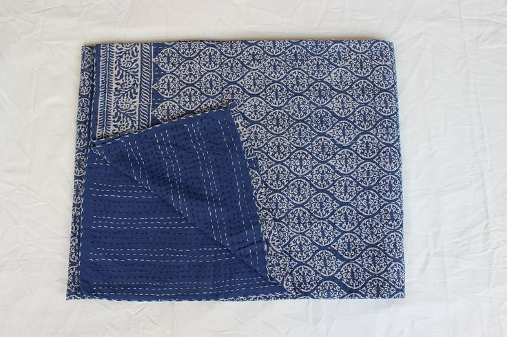Handicraftofpinkcity hand made Indigo Blue kantha quilt. double size handmade cotton bed sheet, Reversible kantha bed speared,. Products = hand made hand block print kantha bed cover size = queen (90x108'') material = 100% cotton made in = india, Use for = bed cover bed sheet, throw.