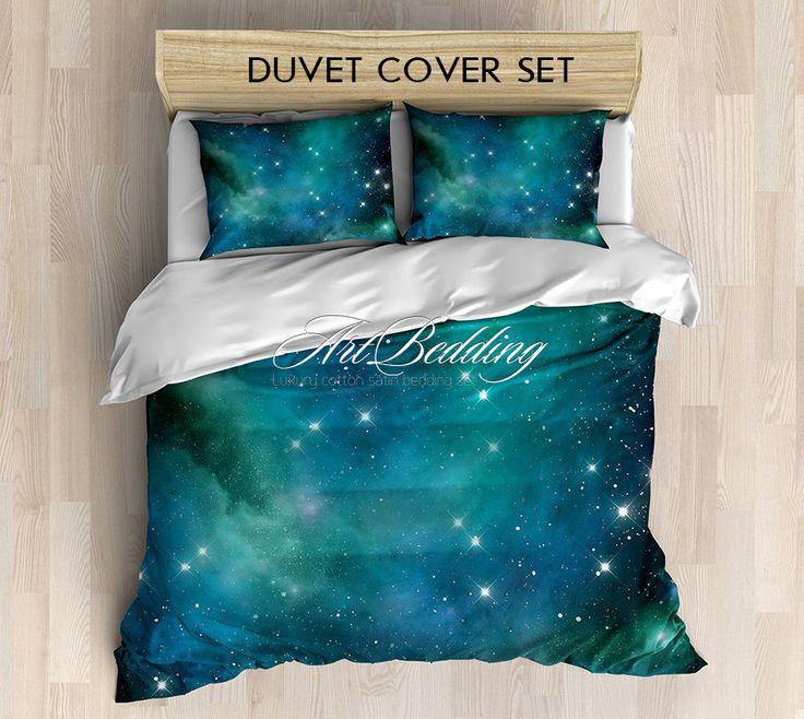 Galaxy bedding, Blue and green nebula in deep space Bedding set, Stars Duvet Cover set, Celestial sateen bedding set