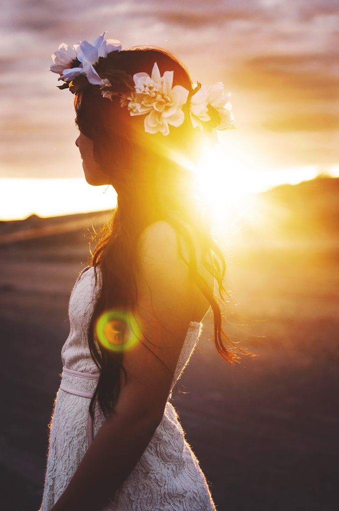 Flower crown and sunset <3
