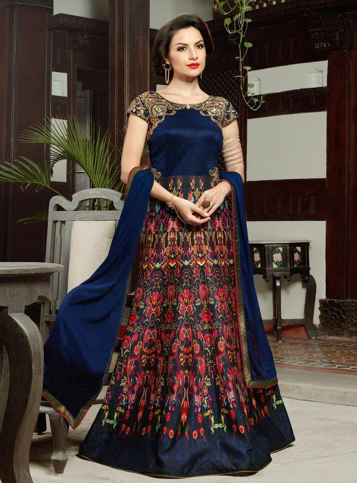 Navy Blue Silk Floor Length Anarkali Suit 86900