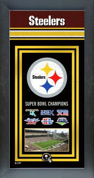 This framed Pittsburgh Steelers poster celebrates each of their Super Bowl wins. Our Pittsburgh Steelers Championship banner includes the team logo, photo of their home stadium and their Super Bowl Championship years.