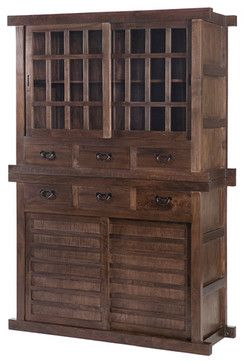 Tansu Double Cabinet, Natural Walnut - asian - China Cabinets And Hutches - Gingko Home Furnishings