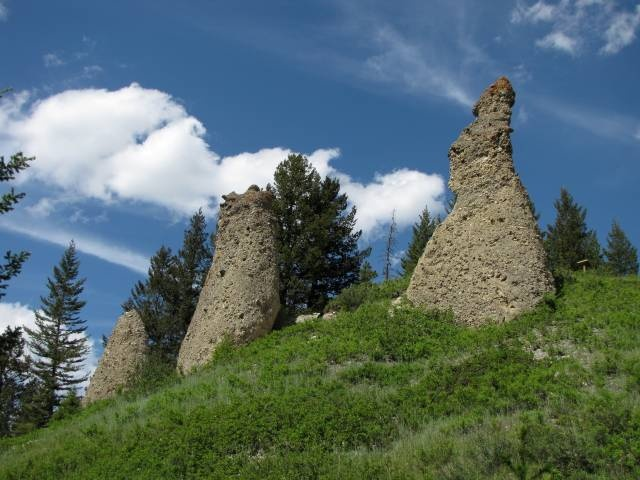 The Canmore Hoodoos above the Town of Canmore, gateway to Banff National Park west of Calgary, Alberta, Canada.