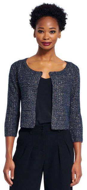 Adrianna Papell | Sequin cropped cardigan women fashion outfit clothing style apparel @roressclothes closet ideas