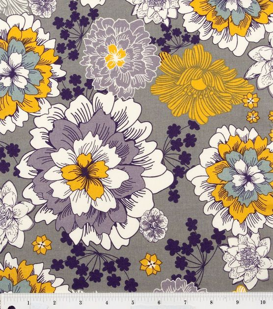 Keepsake Calico Fabric Flourish Flower Gray Med