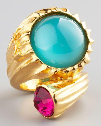 Yves Saint Laurent Golden Snail Ring, Green - Bergdorf Goodman