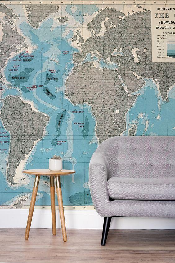 306 best globe map inspiration images on pinterest world maps world ocean depths map wallpaper mural gumiabroncs Gallery