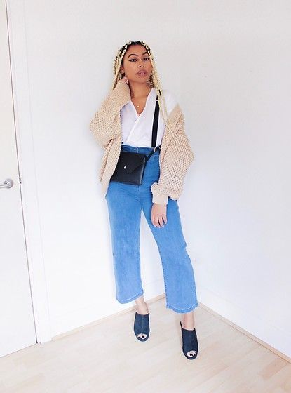 Get this look: http://lb.nu/look/8847827  More looks by Lavinya Royes: http://lb.nu/lavinyaroyes  Items in this look:  Primark Cable Knit, H&M White Shirt, Primark Belt Bag, Asos Flare Jeans, New Look Mules   #casual #chic #minimal #normcore #black #girl #denim #cable #knitwear