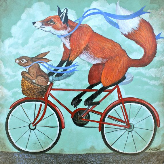 Theyre an odd pair, but they get along like peas and carrots. Rabbit LOVES it when Fox takes him on a bike ride down the cobbled lane, especially