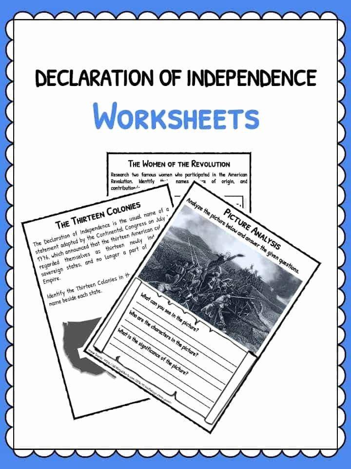Declaration Of Independence Worksheet Inspirational The Declaration Declaration Of An Declaration Of Independence Declaration Of Independence Facts Declaration