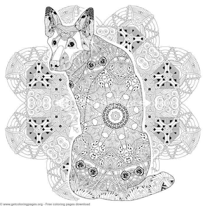 3 Mandala And Dog Coloring Pages Free Instant Download Coloring