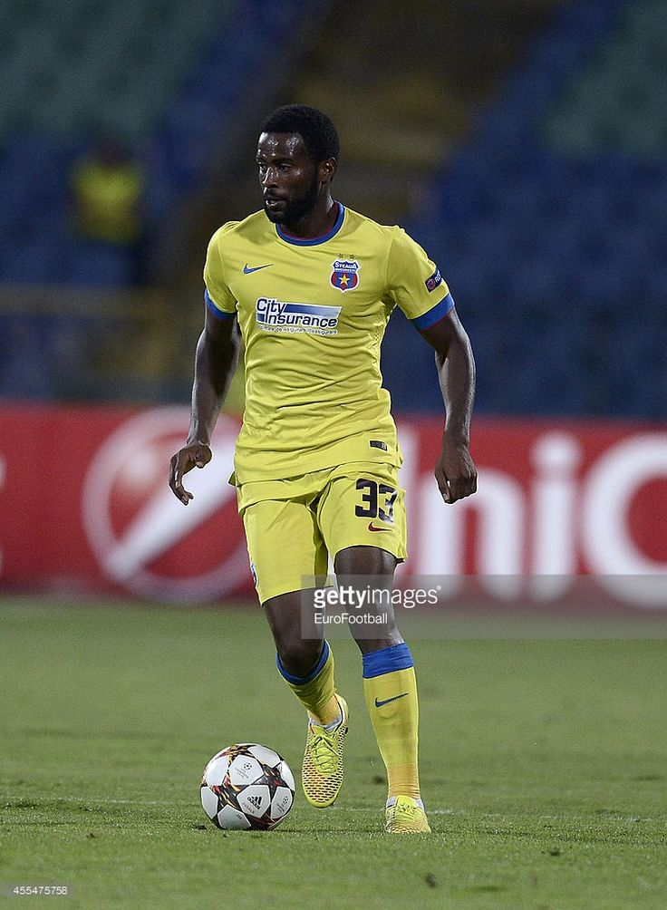 Fernando Varela of Steaua Bucharest in action during the UEFA Champions League Qualifying Play-Offs Round second leg between PFC Ludgorets Razgrad and FC Steaua Bucuresti at the Stadium Vassil Levski on August 27, 2014 in Sofia,Bulgaria.