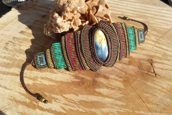 handmade macrame gemstone colorful bracelet with by ARTEAMANOetsy