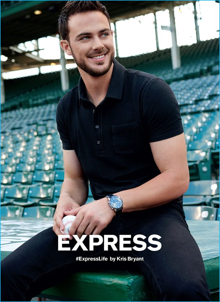 Kris Bryant sports a black polo shirt and denim jeans for Express' fall-winter…