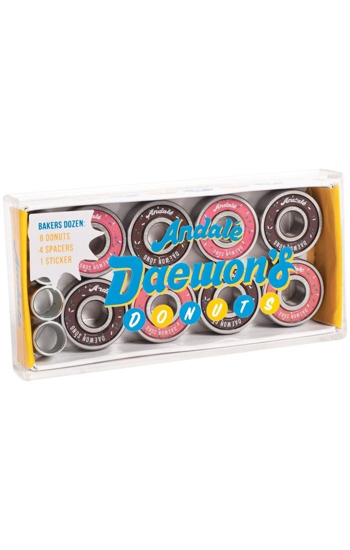 #Andale Skateboard Bearings - Donut Box Daewon #The Andale Donut Box Daewon Song bearings match the great quality of all Andale bearings. Daewon Songs signature model, and definitely the tastiest looking bearings we have seen!Daewon Song Signature modelPack of 8 bearings, 4 bearing spacers and sticker includedHigh quality steel races and ball bearings, superior polished surface finish.Single non-contact, removable rubber shield for easy cleaning and less friction.High speed nylon ball…