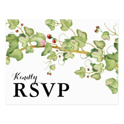 Modern Greenery Wedding Response | Botanical RSVP Postcard - rsvp gifts card cards diy unique special