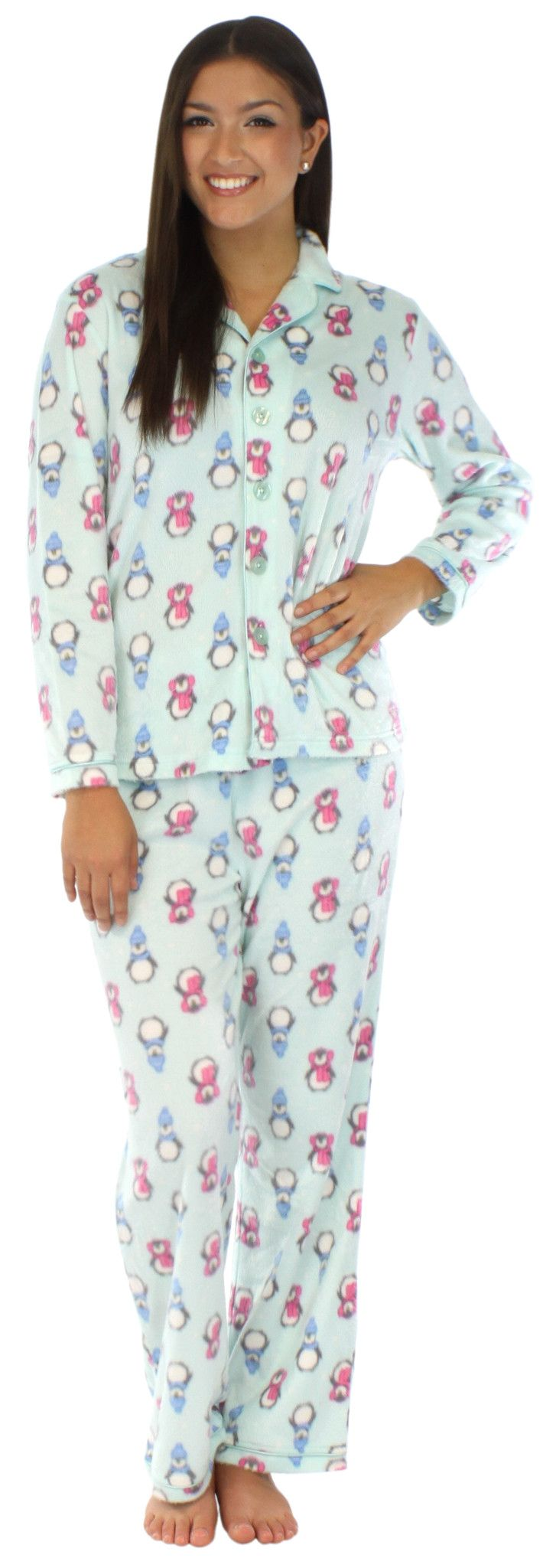 Frankie & Johnny long hair fleece pajamas have a minky feel and are super soft and comfortable with just enough stretch that you will want to wear them all day long - Fleece - Long sleeve - Notched co