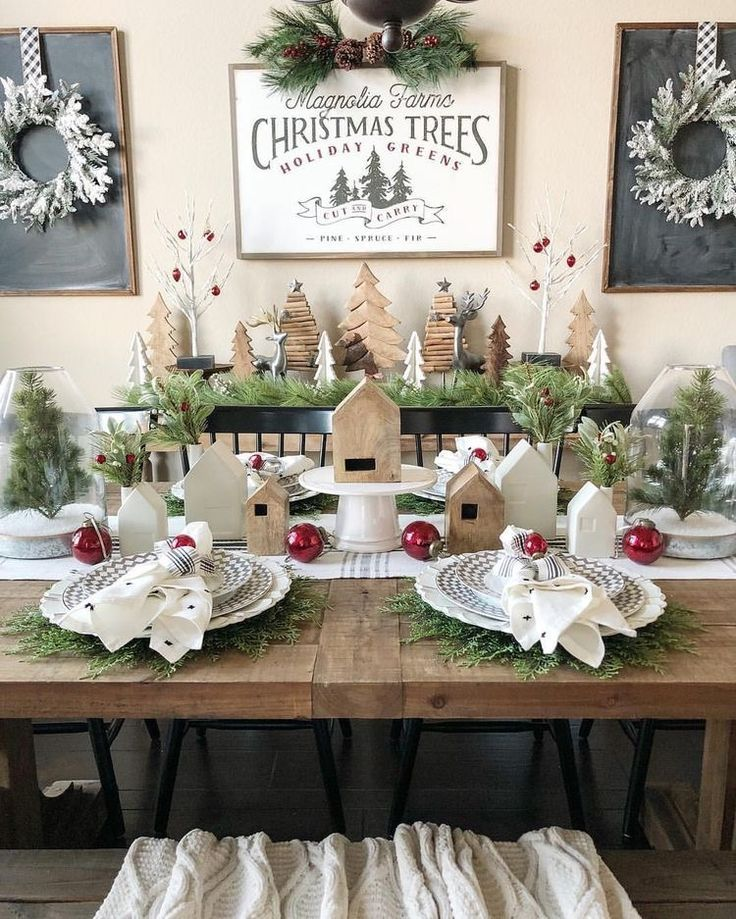 Christmas Table Decor Using Little Wooden Houses I Love This Setting Christmas Kitchen Decor Indoor Christmas Decorations Christmas Decorations