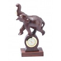 Wooden Tabletop Clock with Elephant Figurine