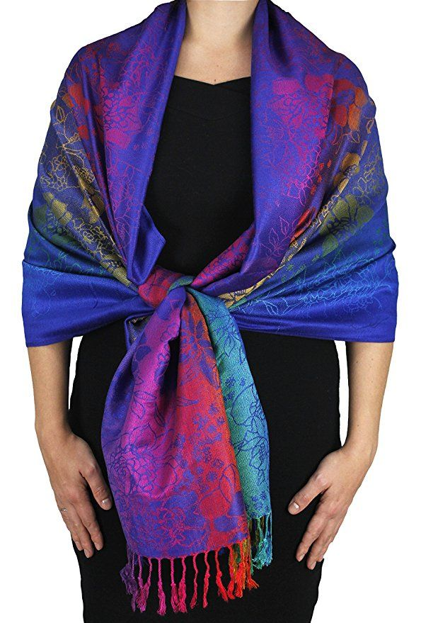 Peach Couture Rainbow Silky Tropical Feather Pashmina Wrap Shawl Scarf Seal Blue at Amazon Women's Clothing store: