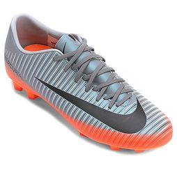 Chuteira Campo Nike Mercurial Victory 6 CR7 Masculina - Cinza+Laranja