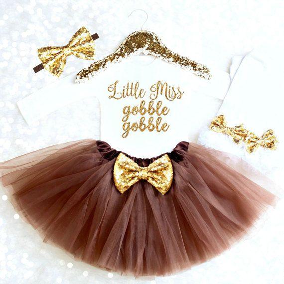 Girl Thanksgiving Outfit Baby Girl Little Miss Gobble Gobble 1st Thanksgiving Outfit Thanksgiving Onesie Girl Gobble Wobble Shirt TH2