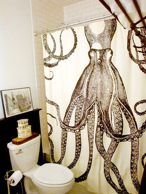 Octopus shower curtain! This would be perfect for a vintage-mermaid themed bathroom!
