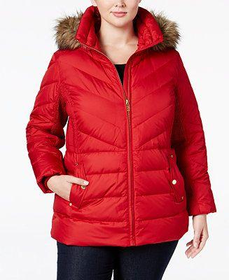 MICHAEL Michael Kors Plus Size Faux-Fur-Trim Chevron-Quilted Down Coat - Coats - Women - Macy's