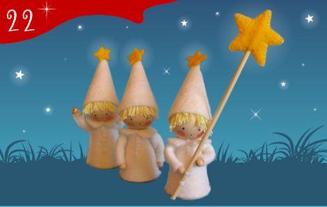 Jour 22 : trois petits lutins étoilés porteurs de lumière. Un kit couture miniature à retrouver sur creakit.fr - CREAKIT Loisirs Créatifs