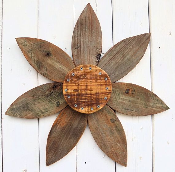 Making flowers out of rustic wood rustic barn wood for Outdoor garden wall decor