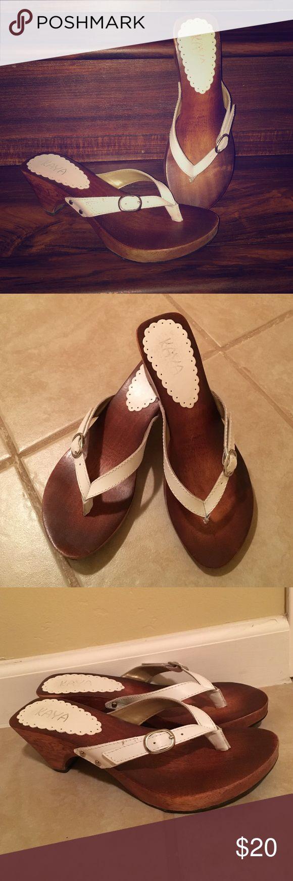 """Kaya Lindey heel Super cute, dressy flip flop with a wooden footbed & 2"""" heel. Worn once. Kaya Shoes Heels"""