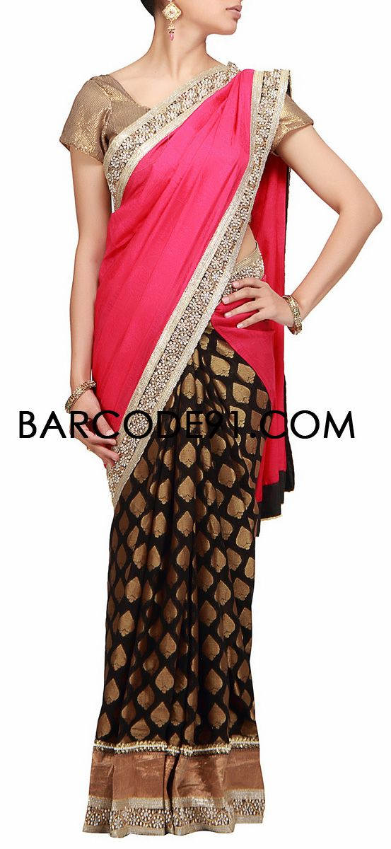Buy it now http://www.barcode91.com/a-half-half-saree-in-pink-chiffon-and-black-brocade-with-embroidered-border-by-b91-exclusive.html