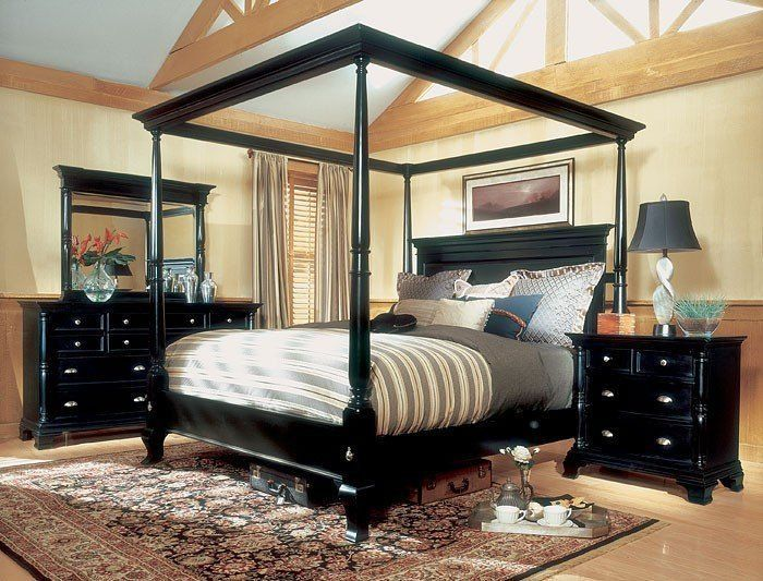 Overawe King Size Canopy Bed With Nightstand And Dresser Mirror