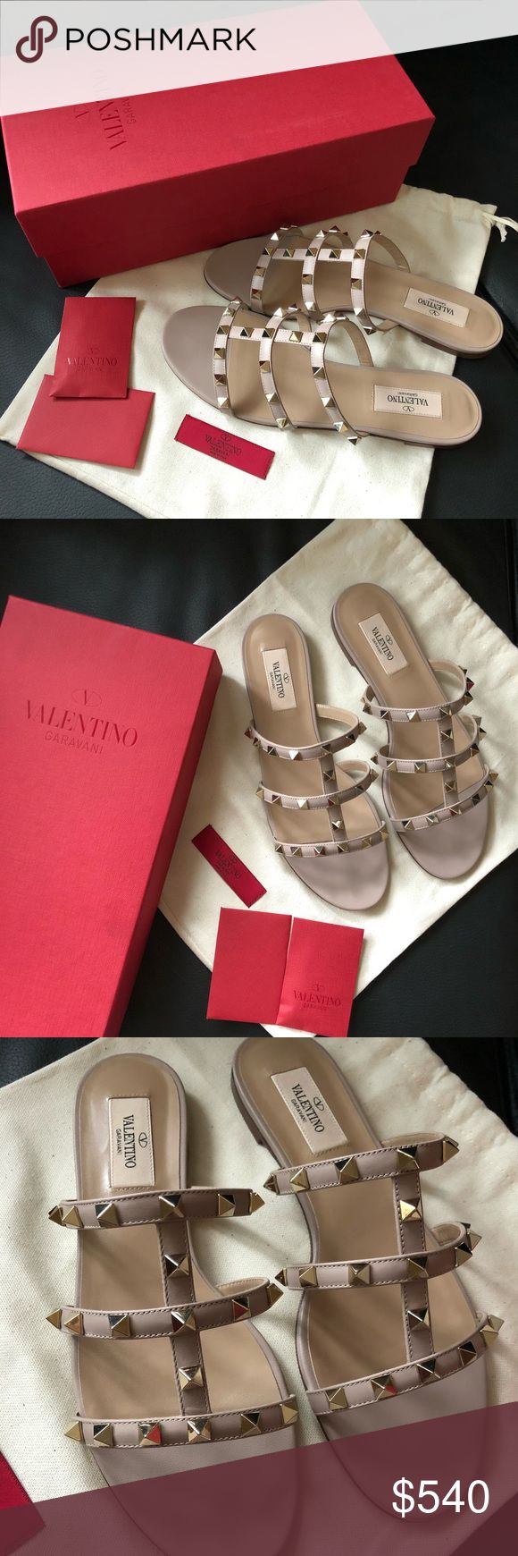 Valentino Rockstud leather slide sandal Hi!  I'm selling these BRAND NEW and NEVER WORN 100% authentic Valentino sandals.  Size: 37  Color: Poudre  It comes with the original box, travel bag and all the original packing.  I purchased these on a final sale, and the size was too big. Since I am unable to return them, I would love for them to go to someone else.  They look beautiful and classy, and the color goes with all outfits! -> will be shipped after March 11th 2018 (on vacation till then)…