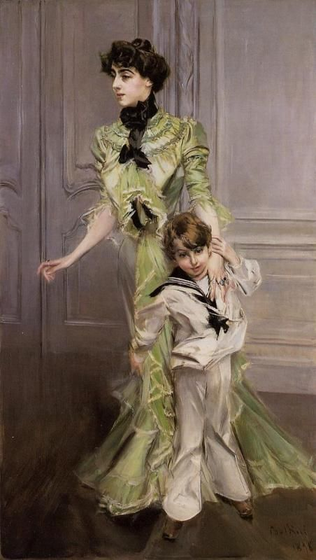 """G """"Boldini, Jeanne Hugo and Her Son, Charles Daudet""""  1897, oil on canvas , 212x122 cm ,Private collection . Jeanne Hugo , grand-daughter of Victor Hugo, first husband (1891-95) Léon Daudet , second Jean-Baptiste Charcot from 1896  , third a Greek captain Michel Negreponte ."""