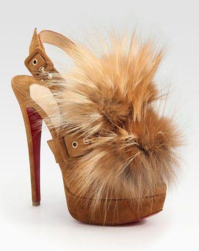 Christian Louboutin SPLASH Fox Fur Suede Platform Peep Toe ...