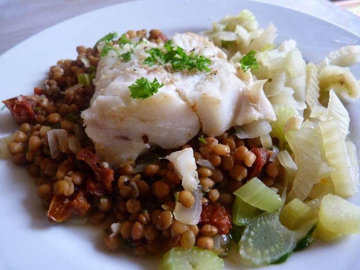 Poisson blanc aux lentilles : Les lentilles se prêtent à de multiples préparations et accompagnent le poisson avec bonheur. - Recettes de cuisine de A à Z