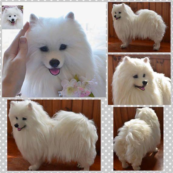 Custom Japanese Spitz Needle Felted Dog Sculpture Dog Portrait
