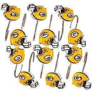 Green Bay Packers Bathroom Shower Curtain Hooks Rings Set By Northwest,