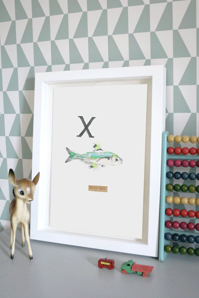 Xray Fish, Animal Alphabet Gicleé print with Neon Tape by lizkingillustration on Etsy