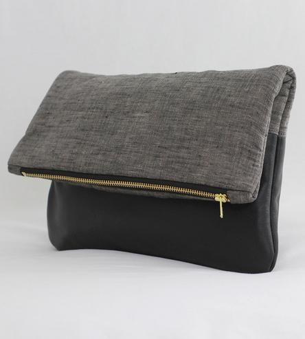 Black Leather & Linen Foldover Clutch