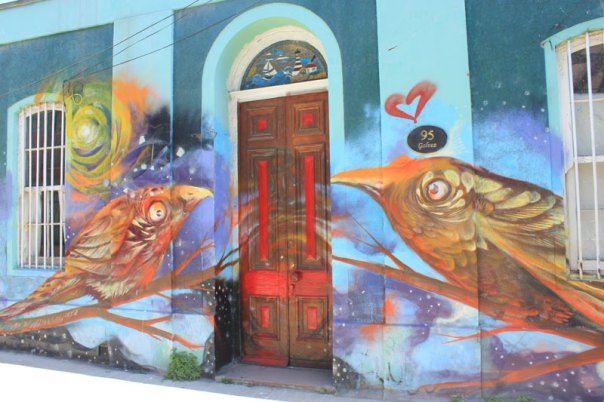 #Impulseearth #Valparaiso #Chile #Graffiti #Street Art #Birds #Painting #Creativity #Door
